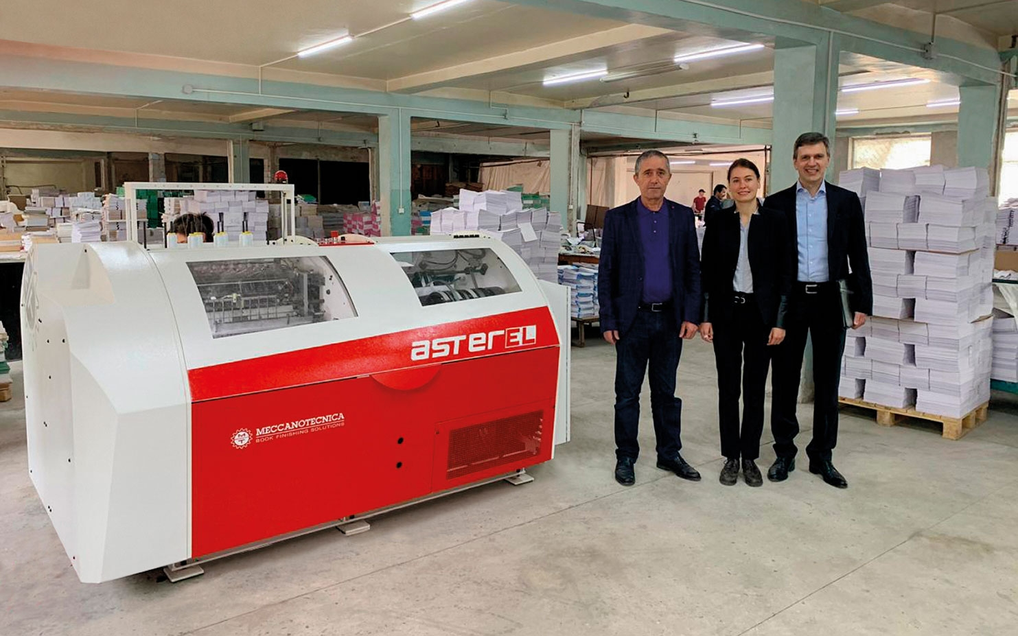 A new asterEL, automatic book sewing machine, installed in Uzbekistan